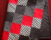 Red, Black, Pirate Skulls, & Checkers Punky Baby Quilt