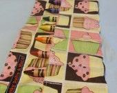 Pink, Brown, Green & Yellow Cupcakes Crayon Roll w/ 8ct Crayola Crayons