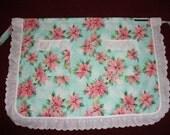 Poinsettia Print Holiday Hostess Apron With White Ruffles & Pockets
