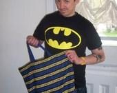 Eco-friendly reusable shopping tote bag/Halloween treat bag. (BATMAN)