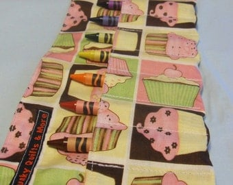 Pink, Brown, Green & Yellow Cupcakes Crayon Roll w/ 8ct Crayola Crayons