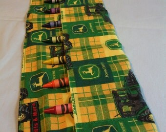Green & Yellow John Deere Tractor X-LARGE Crayon Roll w/ 8ct Crayola Crayons