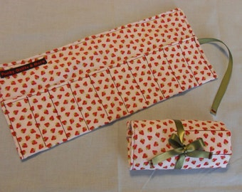 Strawberry Print Crayon Roll w/ Green Ribbon and 8ct Crayola Crayons