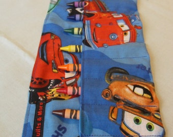 Cars Print Crayon Roll w/ Dark Blue Ribbon and 8ct Crayola Crayons