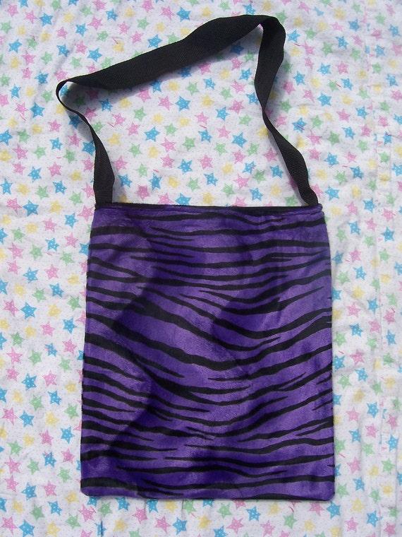 Purple & Black Zebra Print Tote Bag with Pocket