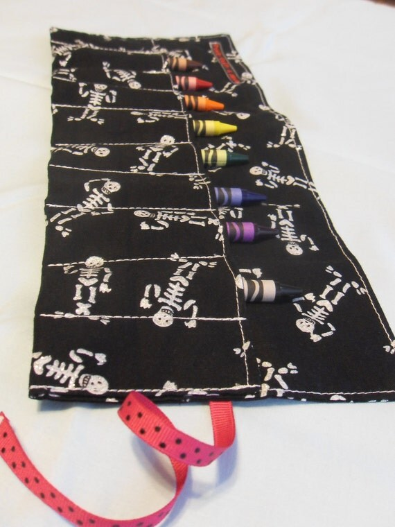 Silver Glitter Skeletons on Black Crayon Roll w/ 8ct Crayola Crayons