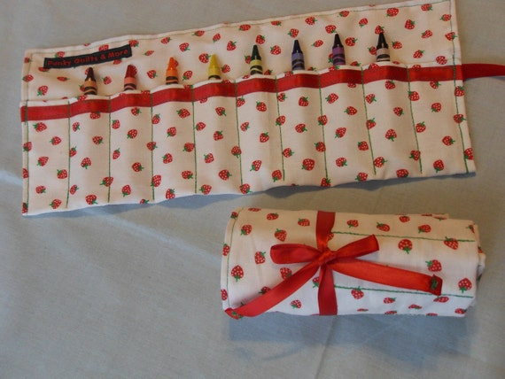 Strawberry Print Crayon Roll w/ Red Ribbon and 8ct Crayola Crayons