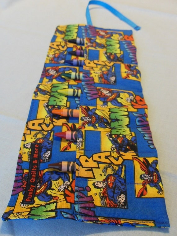 Superman Print Crayon Roll w/ Blue Ribbon and 8ct Crayola Crayons