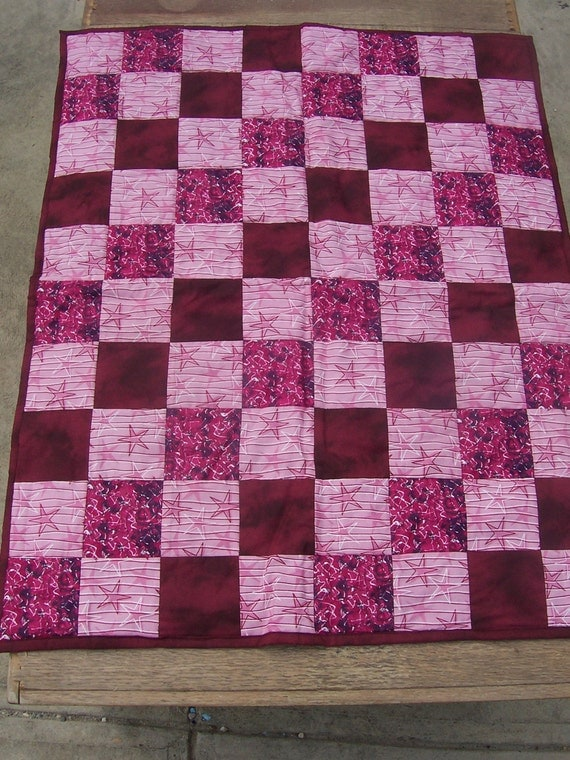 Pink and Maroon Baby Girl Quilt