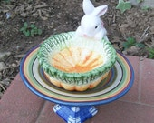 Clearance - Bunny Patch Garden Art - Bird Feeder - Recycled Glass Was 30.00