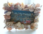 Clearance - Seashell Picture Frame - Recycled - Vacation - Wedding - 4x6 Photo - Was 25.00