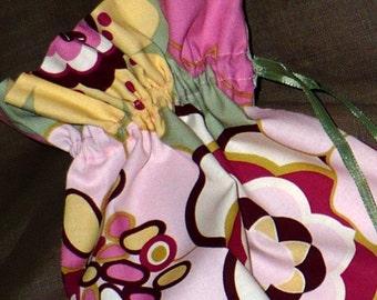 BoHo  Shoe Bags  -   pink, sage, yellow, stylized flowers,  travel, set of 2