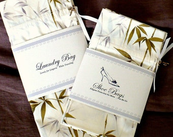 Laundry Bag, Shoe Bags - Bamboo leaves, cream, taupe, Travel Gift Set, SALE