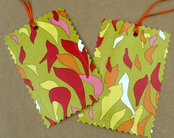 Luggage tags, birds, chartreuse, pink, yellow, set of 2, travel, laminated fabric, gift tag