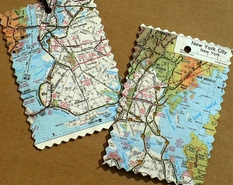 Custom Luggage Tags, Recycled maps, atlas pages, set of 2, destination, wedding, honeymoon, Travel, City, State, Country