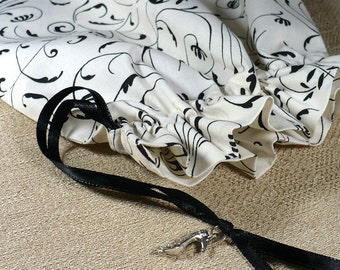 Shoe Bag, Black, White, Flourish, travel, organize, storage, set of 2