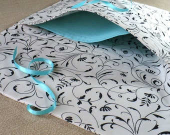 Lingerie Bag, Black and White Flourishes, Aqua, Travel