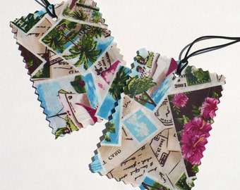 Luggage Tags, tropical fabric, Aqua, Pink,  Island Postcards, set of 2