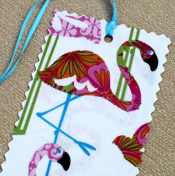 Pink Flamingos Luggage Tag - Mod,  lime, tropical blue, travel accessories