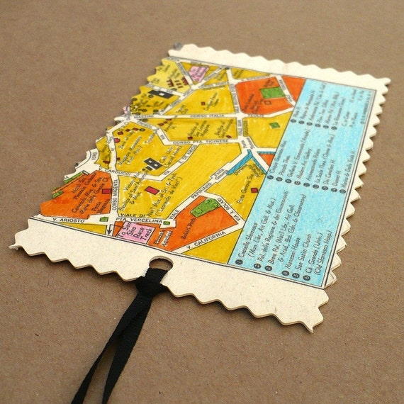 Luggage tag  Milan,  Italy,  recycled street map,  travel