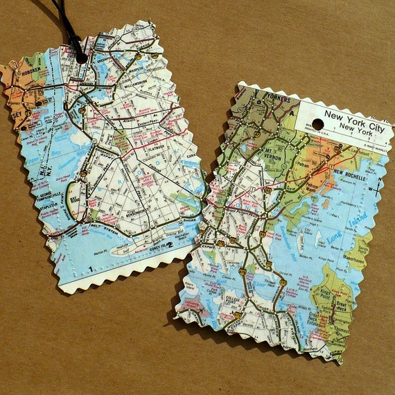 Custom Luggage Tags, Recycled maps, atlas pages, set of 2, destination, wedding, honeymoon