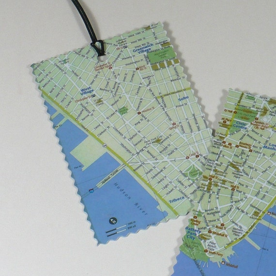 New York luggage tags, Recycled map, travel, set of 2