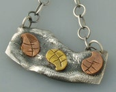 Sterling Silver, Copper and Brass Leaf Necklace- Mixed Metal