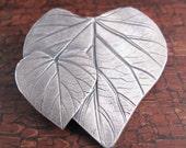 Fine Silver Heart Leaf Pin