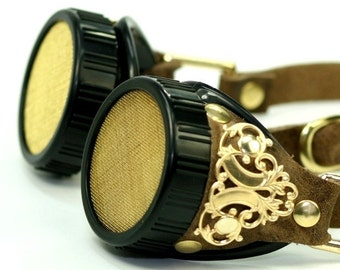 CLASSIC STEAMPUNK Brown Smooth Leather Victorian Goggles