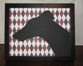 Boutique Greyhound Silhouette - Striking Black, Red and White Argyle - FRAME NOW INCLUDED