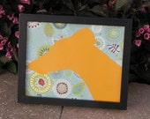 Boutique Greyhound Silhouette - Mod Floral with Tangerine - FRAME NOW INCLUDED