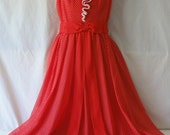Reserved for LEA Vintage 70's Red Polka Dot Ruffles and Bow Maxi Dress-Like New