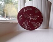 Red Dragonfly Pocket Mirror, Polymer Clay - Large