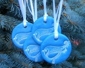 Holiday Bird Ornament - Blue - 4 Pack Set