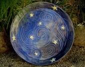 Ceramic Platter - Starry Night - Midnight Blue - Van Gogh - Large Serving Plate - Pottery Platter - Appetizer Platter - Star - Celestial Art
