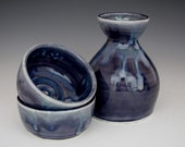 Sake for Two - Stormy Blue - Porcelain Handmade Pottery