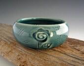 Ceramic Ring Dish - Teal - Rose - Trinket Dish - Jewelry Bowl - Handmade by DirtKicker Pottery