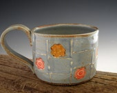 Coffee Mug in Rustic Blue - Flowers in Windows - Country Cottage - by DirtKicker Pottery