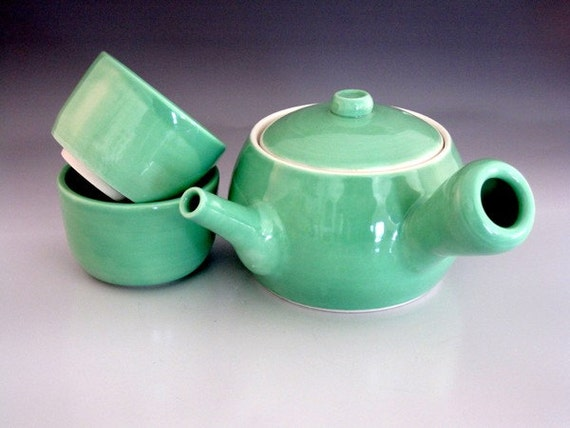 Kyusu teapot set turquoise green porcelain Green tea pot set