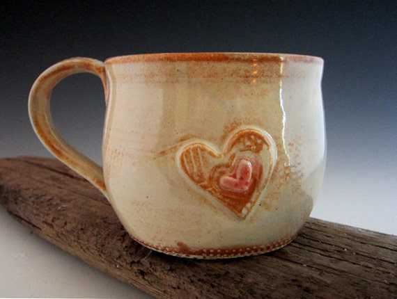 large coffee mug rustic country white with heart valentine