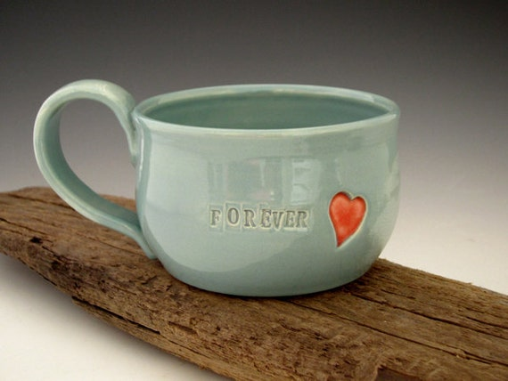 Mug with Red Heart - Forever - Summer Turquoise - Coffee Mug - Soup Mug - by DirtKicker Pottery