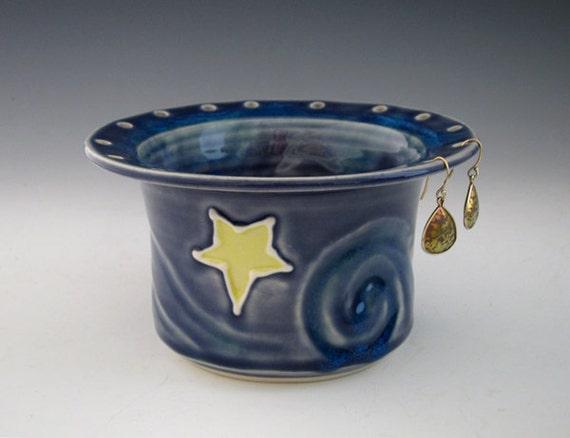 Ceramic Earring Holder Bowl - Starry Night - Midnight Blue - Jewelry Organizer - Summer Nights - by DirtKicker Pottery