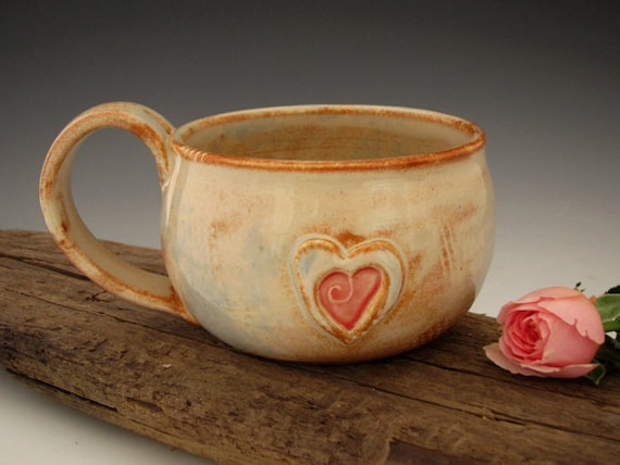 Country Heart Mug - Rustic White - Love - Large Mug - Coffee Mug - by DirtKicker Pottery