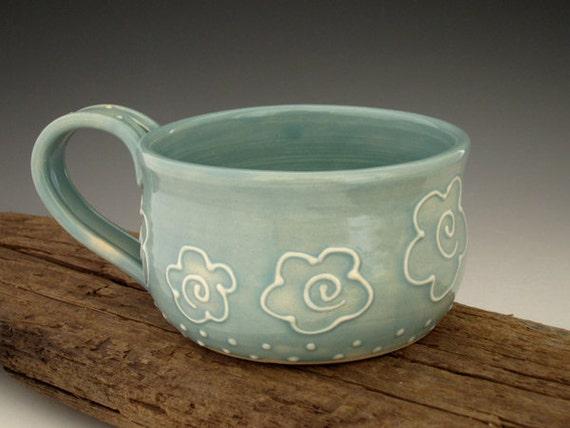 Pottery Mug - Summer Flowers - Turquoise - Country Style - Coffee Mug - Large Mug - by DirtKicker Pottery
