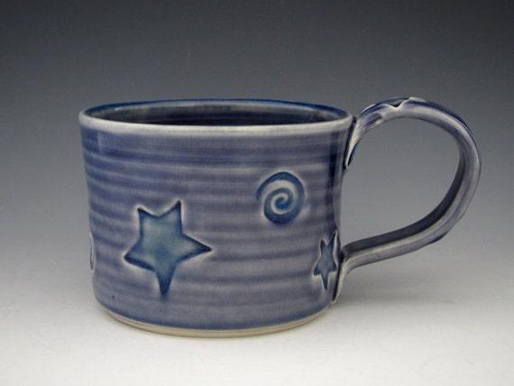 Star Mug in Midnight Blue - Starry Night - by DirtKicker Pottery