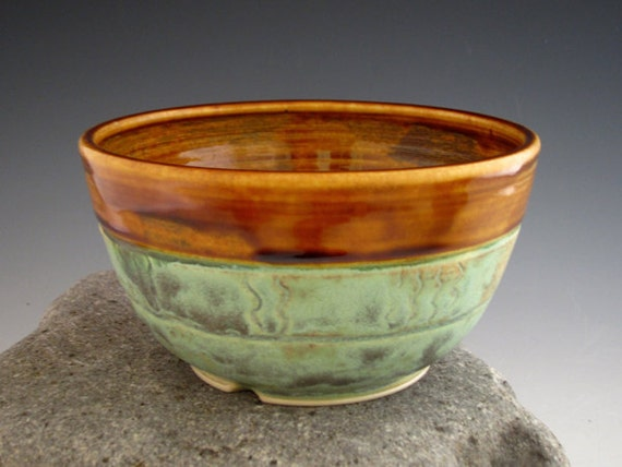 Patina Green Rice Bowl - Rustic Style - Big Cereal Bowl - Salad Bowl - Dark Amber - by DirtKicker Pottery