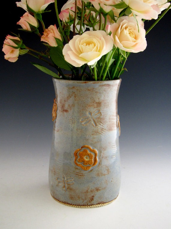 Ceramic Vase with Yellow Roses - Rustic Blue - Country Style - Dragonfly - by DirtKicker Pottery