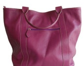 Sanuk in Raspberry - Large Magenta Leather Shoulder Bag Tote FREE SHIPPING