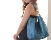 medium blue leather tote - roomy luxurious cerulean blue leather carry all LAST ONE