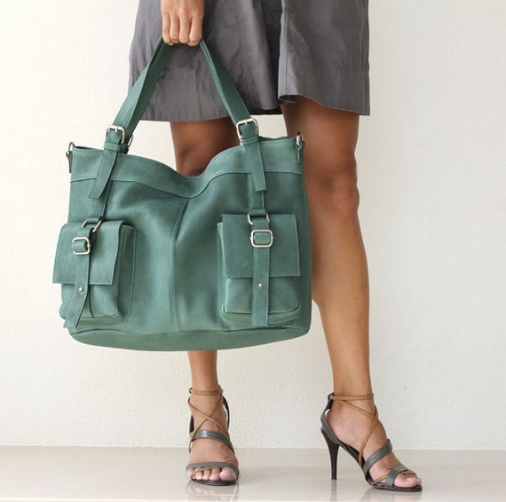 leather messenger tote - Forest Green Large Shoulder Bag - Can Be Worn Across the Chest LAST ONE